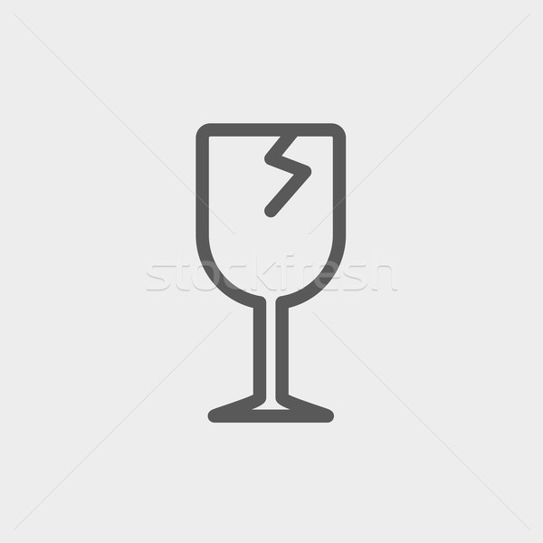 Broken glass wine thin line icon Stock photo © RAStudio
