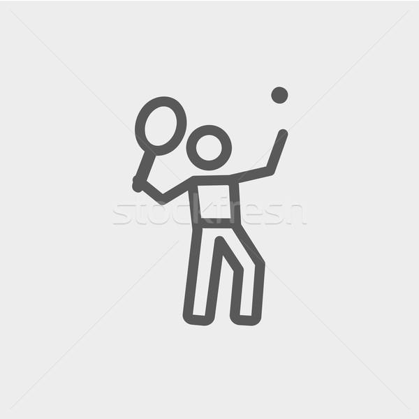 Tennis player in serving position thin line icon Stock photo © RAStudio