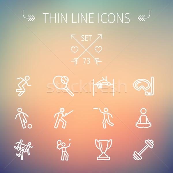 Sports thin line icon set Stock photo © RAStudio