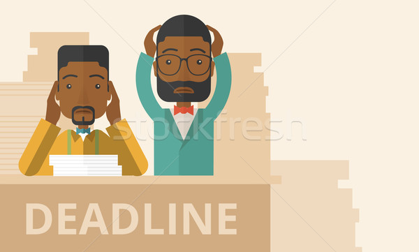 Two stressed african-american employees.  Stock photo © RAStudio