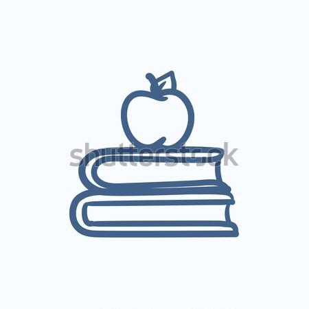 Foto stock: Dois · livros · maçã · topo · fino · linha