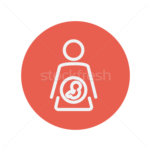 Baby fetus in mother womb thin line icon Stock photo © RAStudio