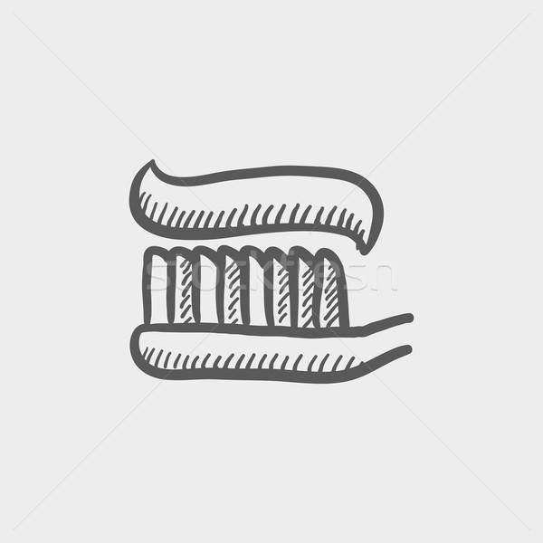 Escova de dentes creme dental esboço ícone teia móvel Foto stock © RAStudio