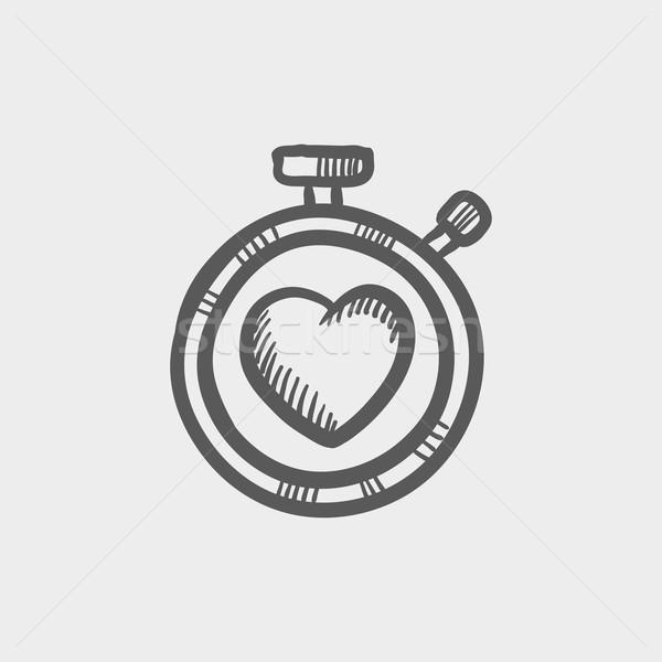 Heart time sketch icon Stock photo © RAStudio