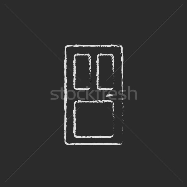 Przednie drzwi ikona kredy tablicy Zdjęcia stock © RAStudio
