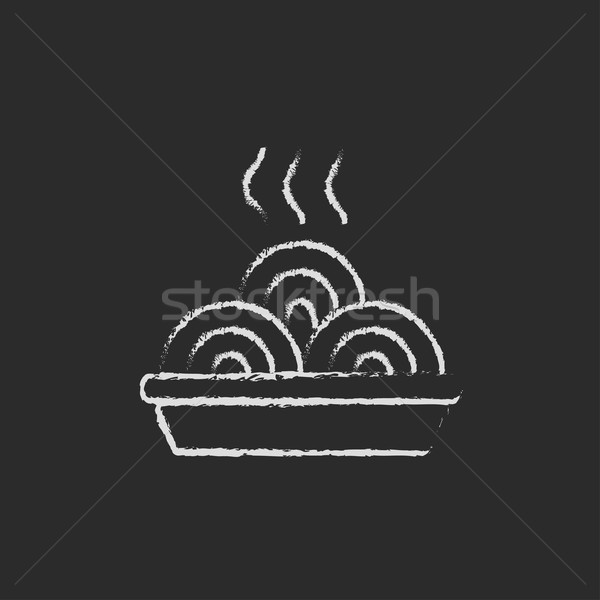 Plate of a hot mealicon drawn in chalk. Stock photo © RAStudio