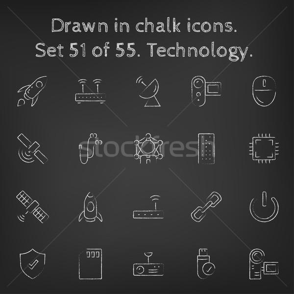 Technológia ikon gyűjtemény rajzolt kréta kézzel rajzolt iskolatábla Stock fotó © RAStudio