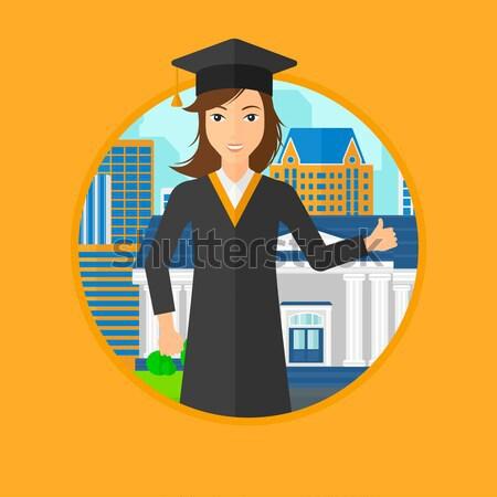 Graduados capa sombrero ciudad academia edificio Foto stock © RAStudio