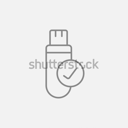 Usb flash drive lijn icon web mobiele Stockfoto © RAStudio