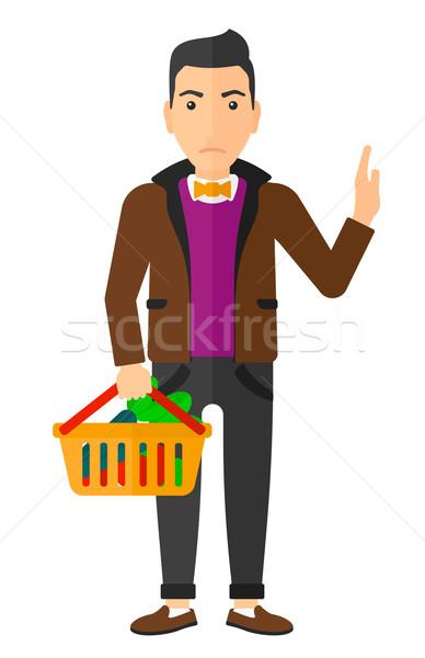 Stock fotó: Férfi · tart · áruház · kosár · tele · egészséges · étel