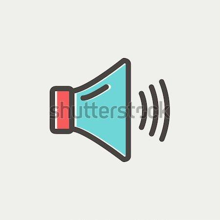 Hangszóró hangerő vonal ikon háló mobil Stock fotó © RAStudio