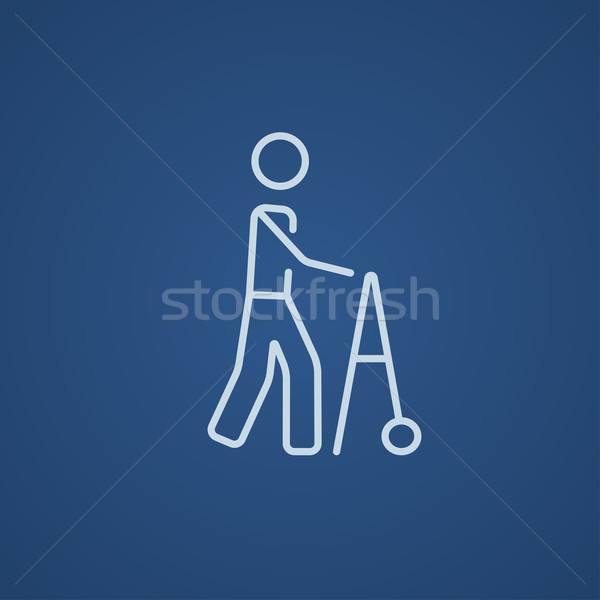 Man with walker line icon. Stock photo © RAStudio