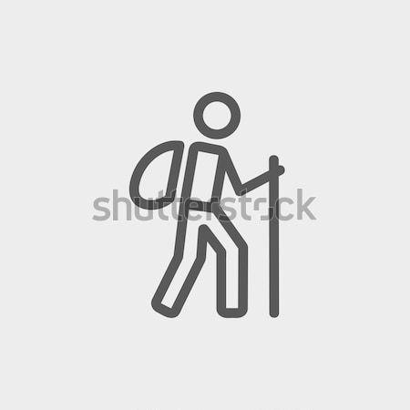 Niewidomych człowiek Stick line ikona spaceru Zdjęcia stock © RAStudio