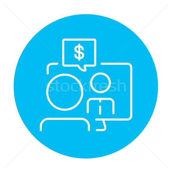 Business video onderhandelingen lijn icon man Stockfoto © RAStudio