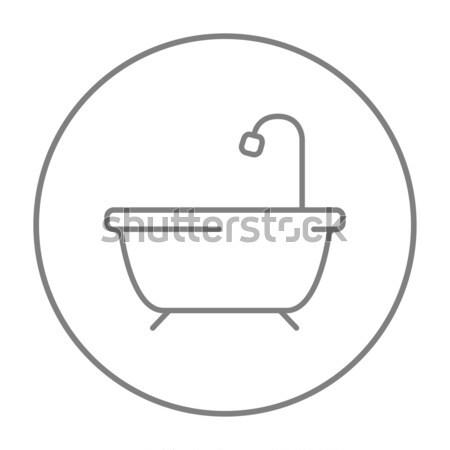 Vasca da bagno doccia line icona web mobile Foto d'archivio © RAStudio