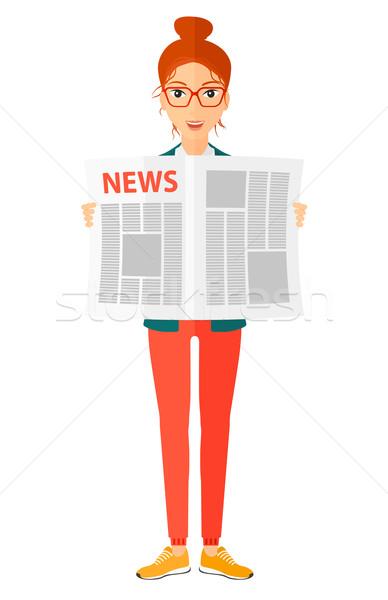 記者 読む 新聞 幸せ ベクトル デザイン ストックフォト © RAStudio