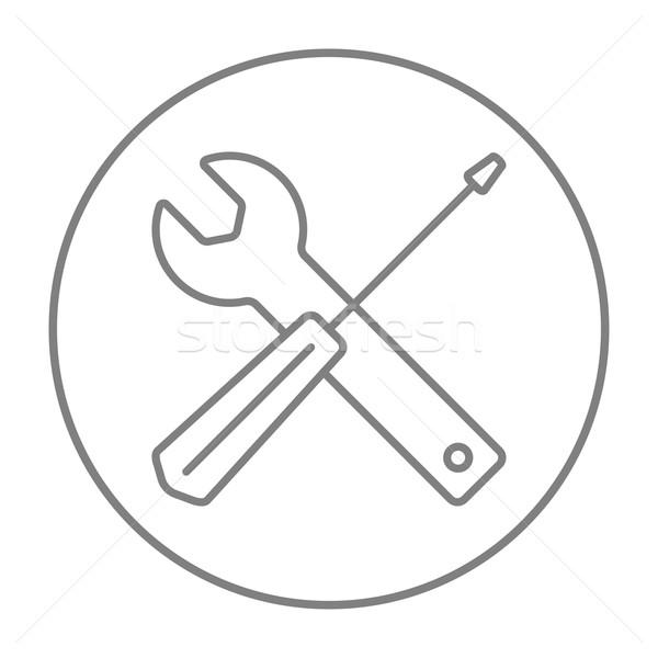 Schroevendraaier sleutel tools lijn icon web Stockfoto © RAStudio