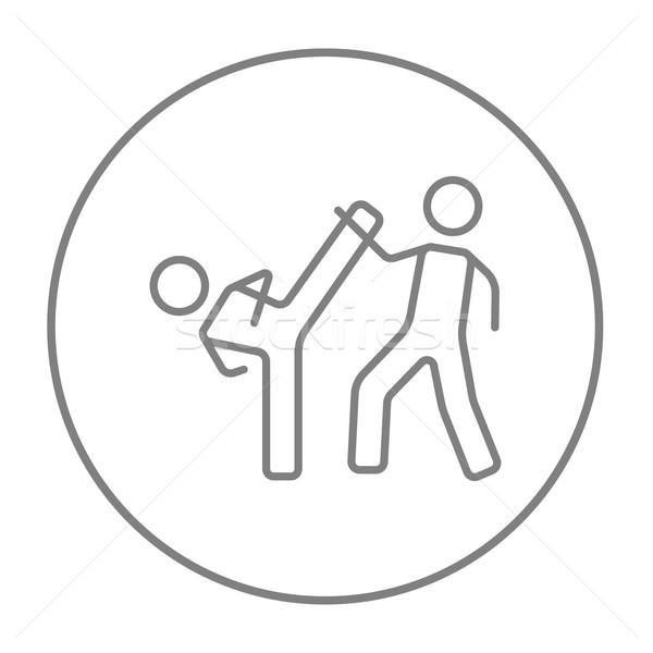 Karate fighters line icon. Stock photo © RAStudio
