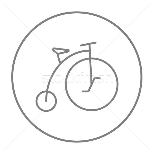 Old bicycle with big wheel line icon. Stock photo © RAStudio