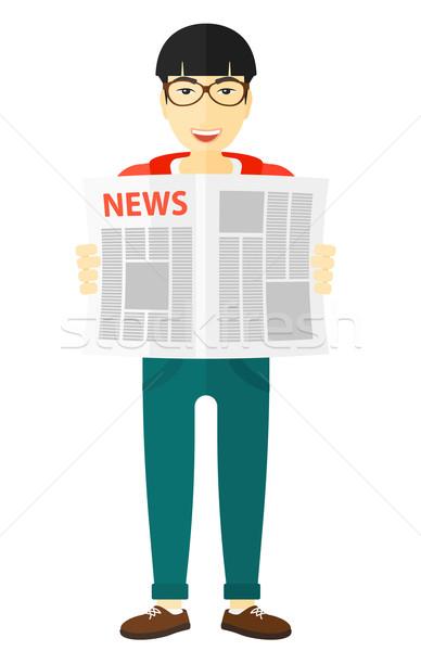 Reporter czytania gazety asian wektora projektu Zdjęcia stock © RAStudio