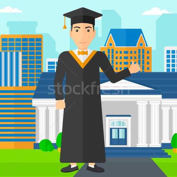Diplômé pouce up signe homme Photo stock © RAStudio