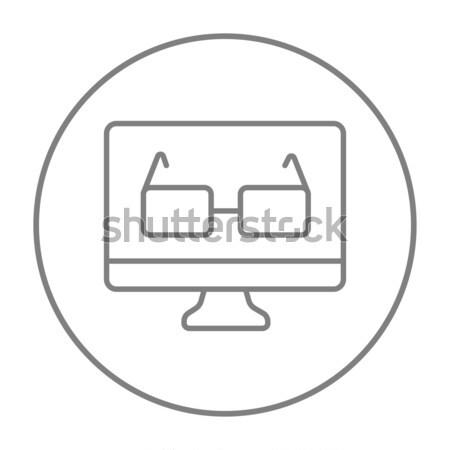Szemüveg számítógépmonitor vonal ikon sarkok háló Stock fotó © RAStudio