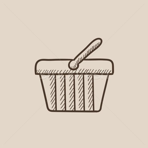 Bevásárlókosár rajz ikon háló mobil infografika Stock fotó © RAStudio