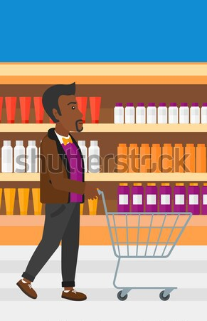 Stockfoto: Klant · asian · man · voortvarend · lege · supermarkt