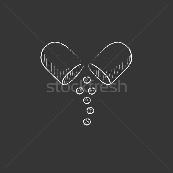 Capsule pill. Drawn in chalk icon. Stock photo © RAStudio