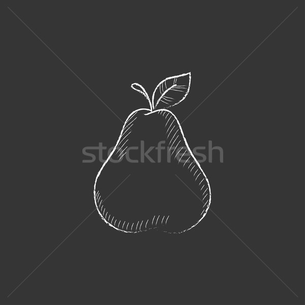 Pear. Drawn in chalk icon. Stock photo © RAStudio