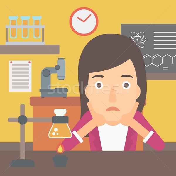 Kobieta rozpacz głowie chemia klasy wektora Zdjęcia stock © RAStudio