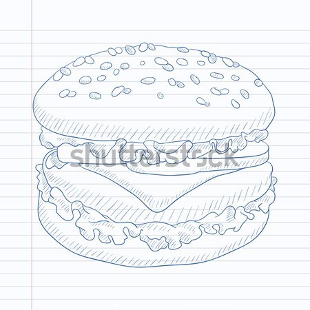 Lezzetli iştah açıcı hamburger Burger et peynir Stok fotoğraf © RAStudio