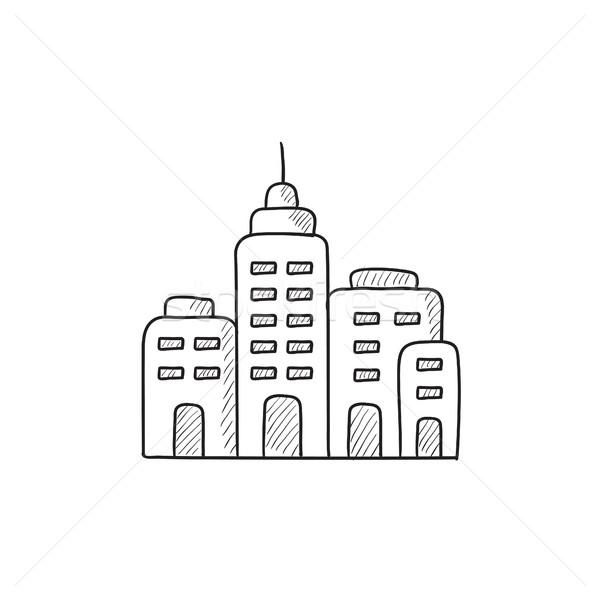 Residencial edificios boceto icono vector aislado Foto stock © RAStudio