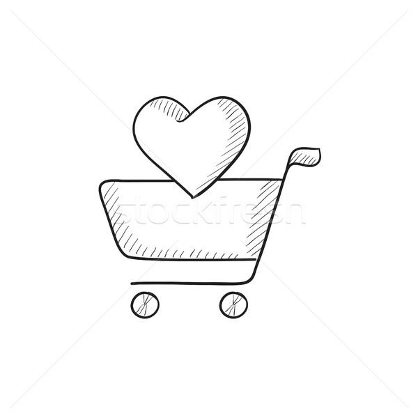 Bevásárlókocsi szív rajz ikon vektor izolált Stock fotó © RAStudio