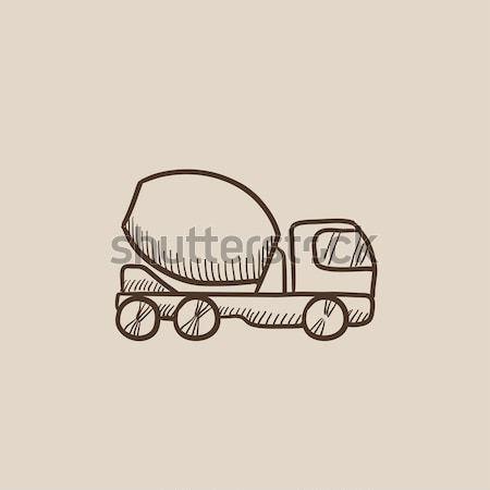 具体的な ミキサー トラック スケッチ アイコン ベクトル ストックフォト © RAStudio
