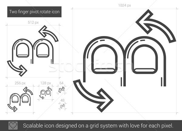 Two finger pivot rotate line icon. Stock photo © RAStudio