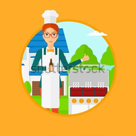 女性 料理 肉 ガス バーベキューグリル ボトル ストックフォト © RAStudio