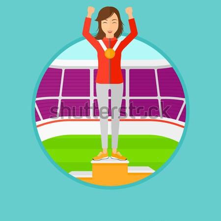 Stock fotó: Sportoló · ünnepel · nyertesek · pódium · afrikai · nő