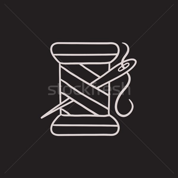Spool of thread and needle sketch icon. Stock photo © RAStudio