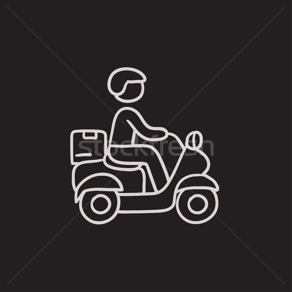Homem bens bicicleta esboço ícone Foto stock © RAStudio