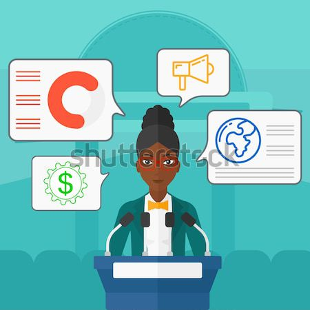 Female speaker on the podium vector illustration. Stock photo © RAStudio
