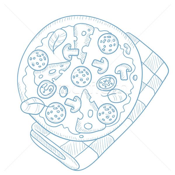 Delicious pizza with salami. Stock photo © RAStudio