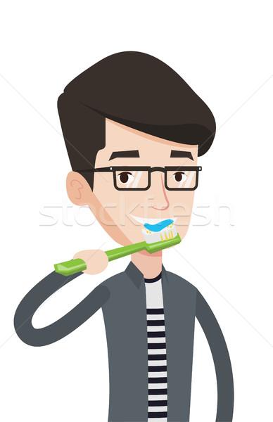 Man brushing his teeth vector illustration. Stock photo © RAStudio