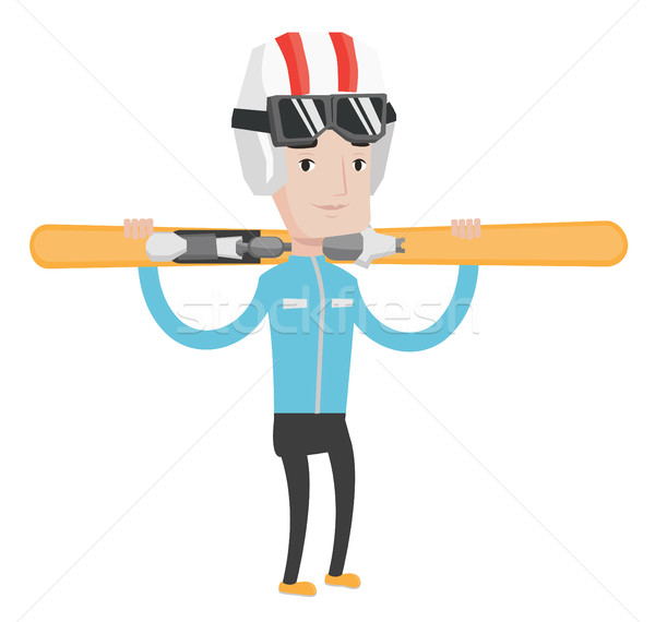 Sportsman holding skis vector illustration. Stock photo © RAStudio