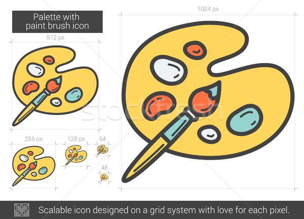 Palette pinceau ligne icône vecteur isolé Photo stock © RAStudio
