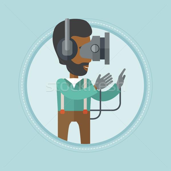 Stockfoto: Man · virtueel · realiteit · hoofdtelefoon · spelen · video · game