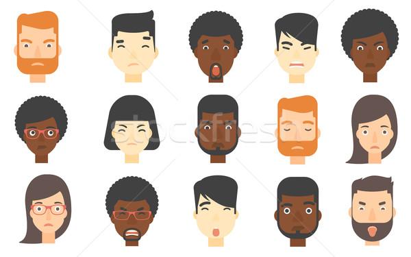 Szett emberi arcok kifejez negatív érzelmek Stock fotó © RAStudio