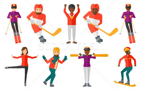 Vektor szett sport betűk fiatal jégkorong Stock fotó © RAStudio