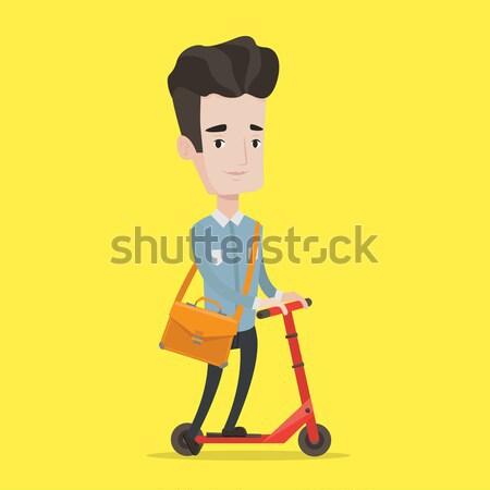 Woman riding kick scooter vector illustration. Stock photo © RAStudio