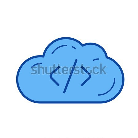 Cloud hosting lijn icon vector geïsoleerd witte Stockfoto © RAStudio